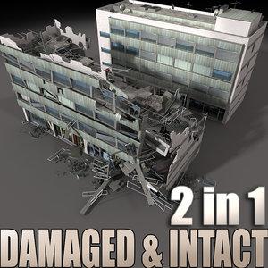 3d destroyed building intact model
