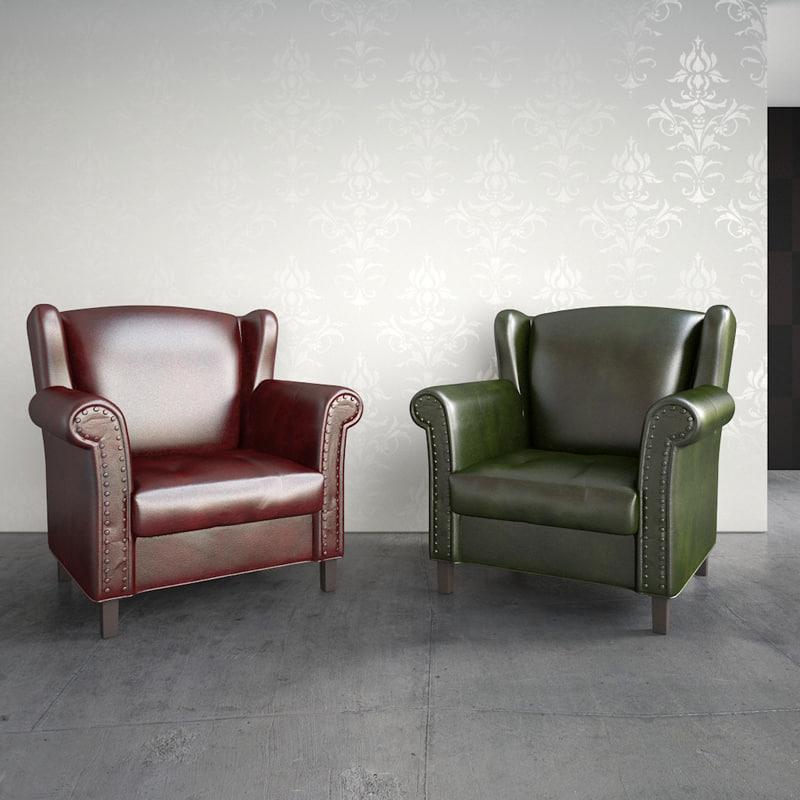 obj leather armchair classic interior