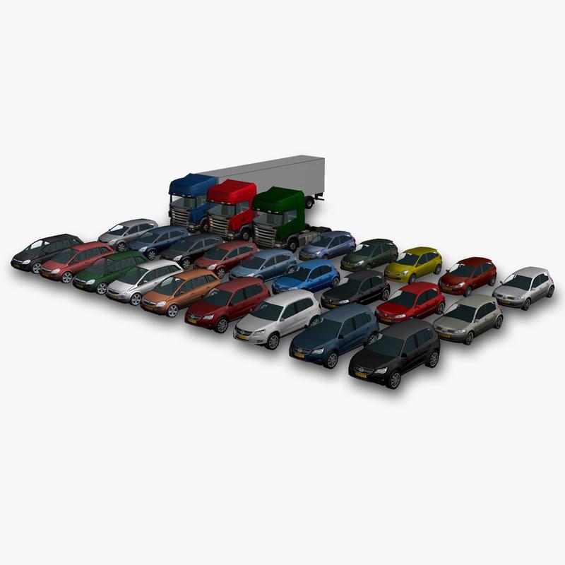 3d model package car truck trailer