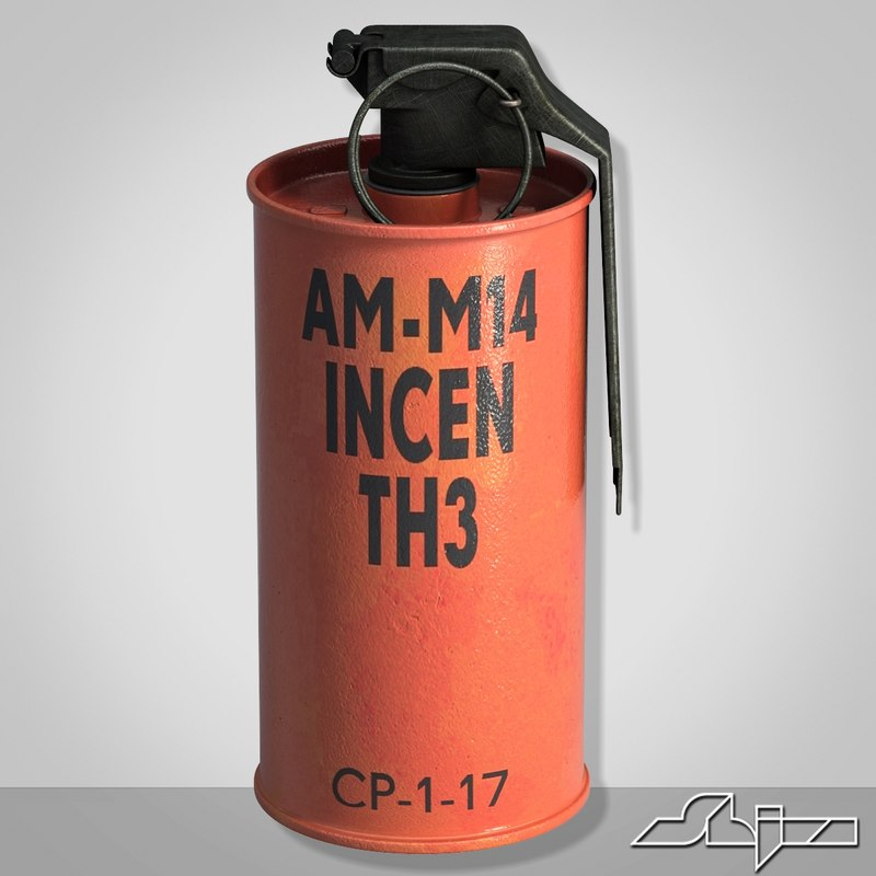 3ds max grenade m18 red explosive