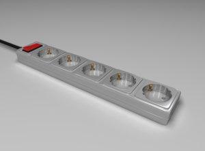 3d model power strip