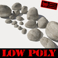 Rocks - Stones 1 Low Poly Smooth RS15 - Tan or Grey 3D Rocks or Stones