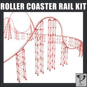 3d model roller coaster rails