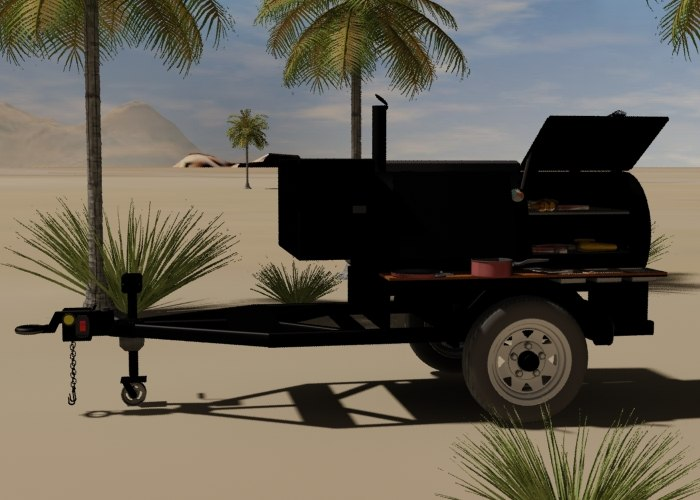 3d single axle trailer barbecue
