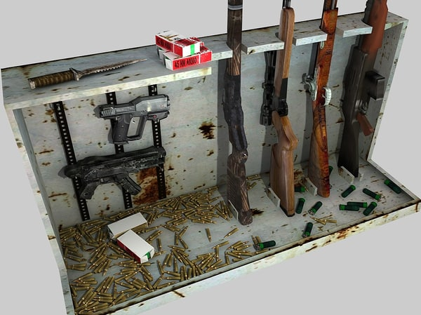3d model of cabinets weapons