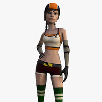 3d roller girl cartoon model