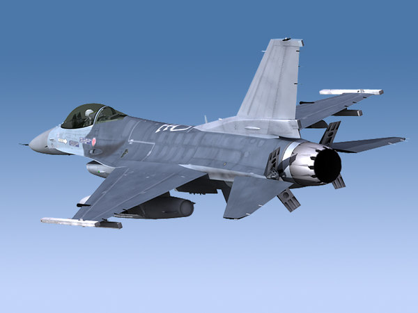 3d f-16 viper unwrapped model