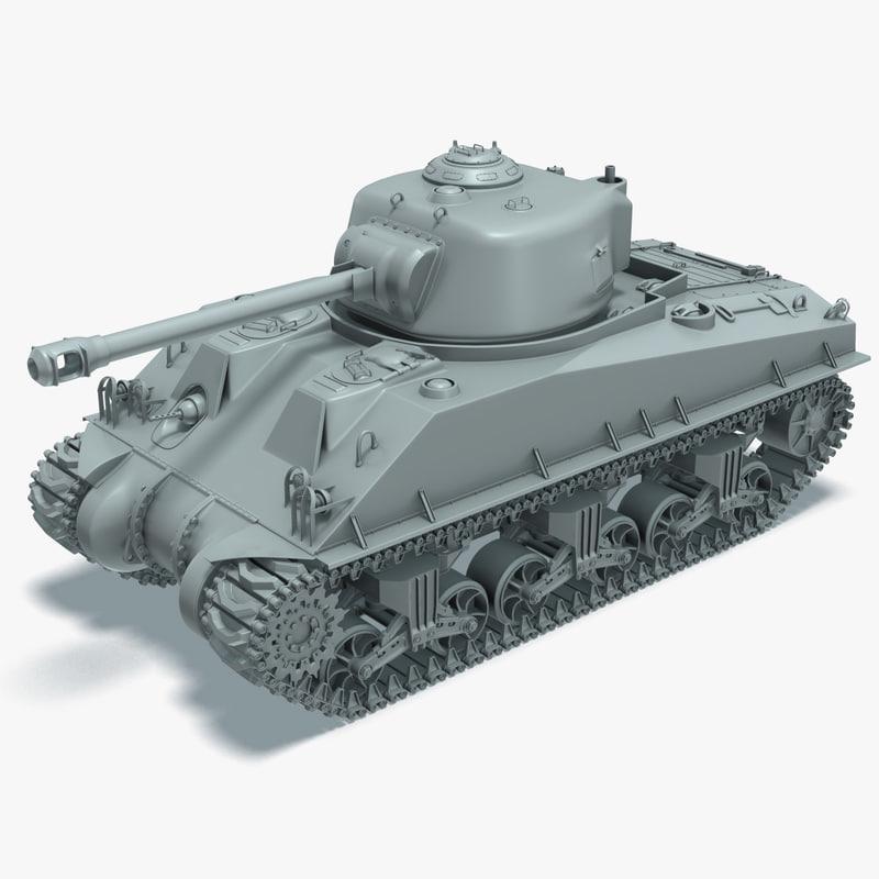 m4a3 sherman tank rigged 3d model