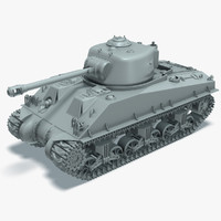 3d model m4a3 sherman tank rigged