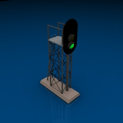 3 light vertical signal 3d model