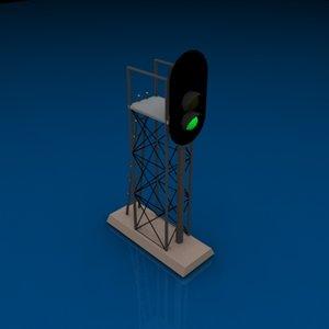 3 light vertical signal 3d model