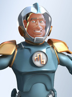 3d spaceman cartoon man model