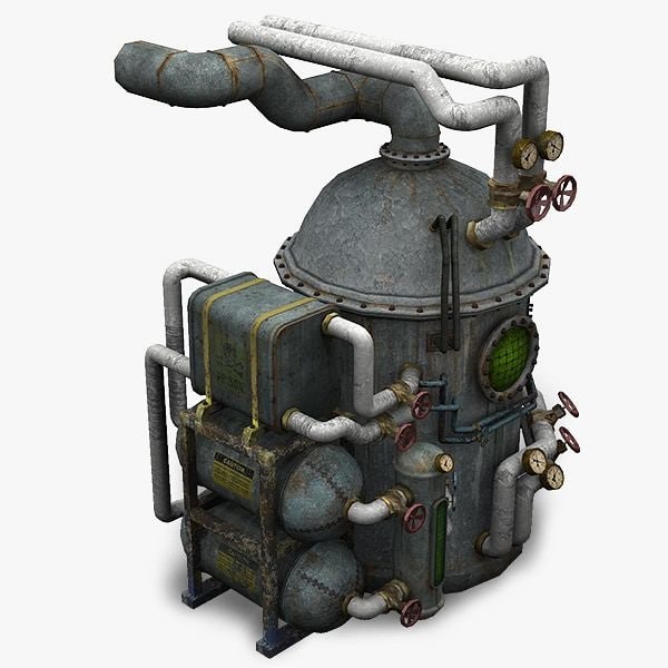 dirty rusty boilerstation 3d model