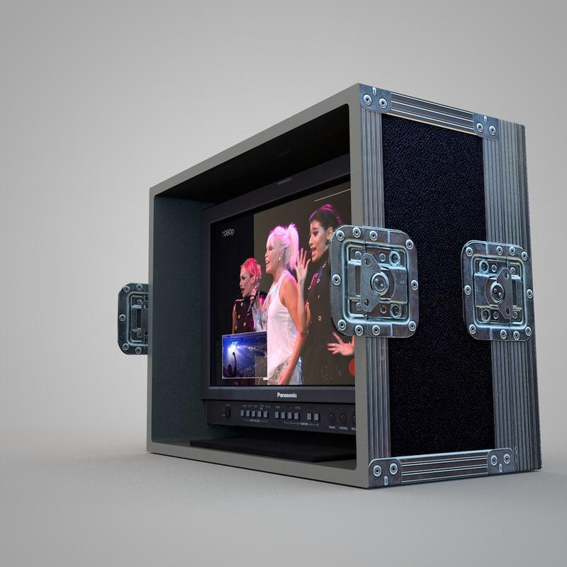 3d c4d flight case monitor hd