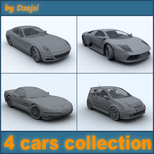 4 cars 3d fbx