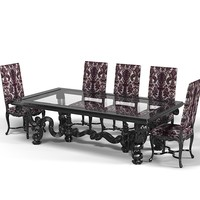 ANGELO Cappelini dining table chair stool set classic luxury baroque glamour glass