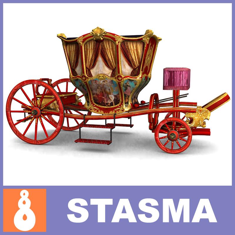 3d antique carriage model
