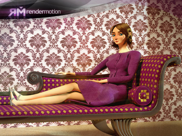 young woman mujer 3d obj