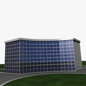 3d model curved office building