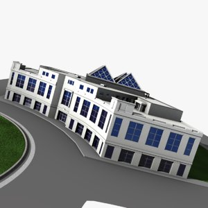 3d curved office building model