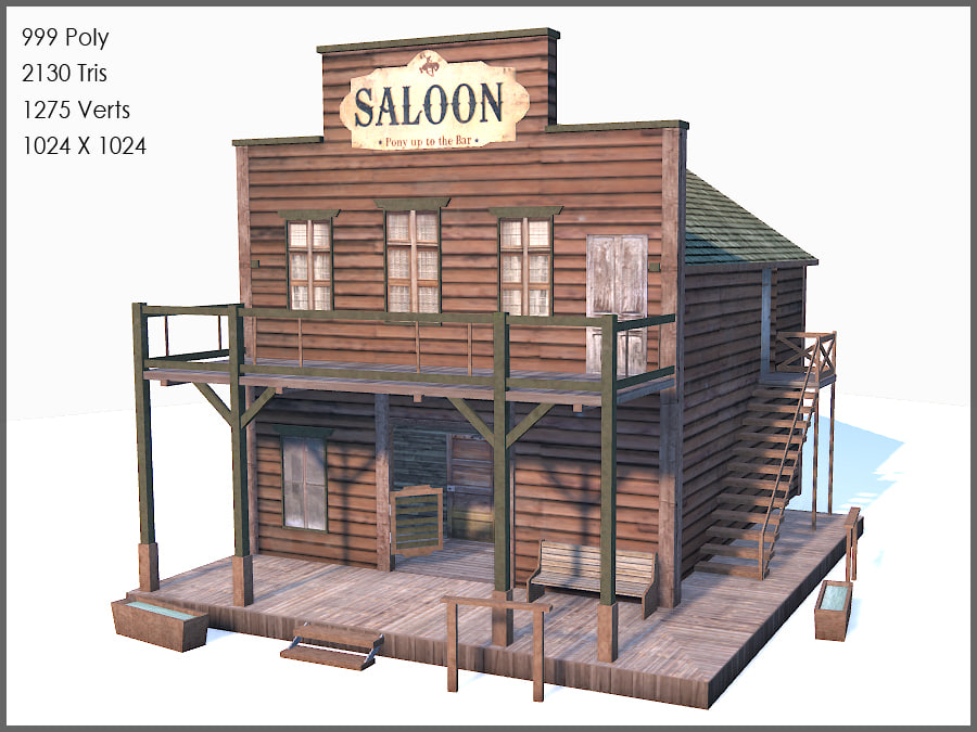 Western saloon 3d max for Salon western