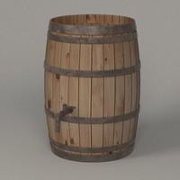wooden barrel 3ds