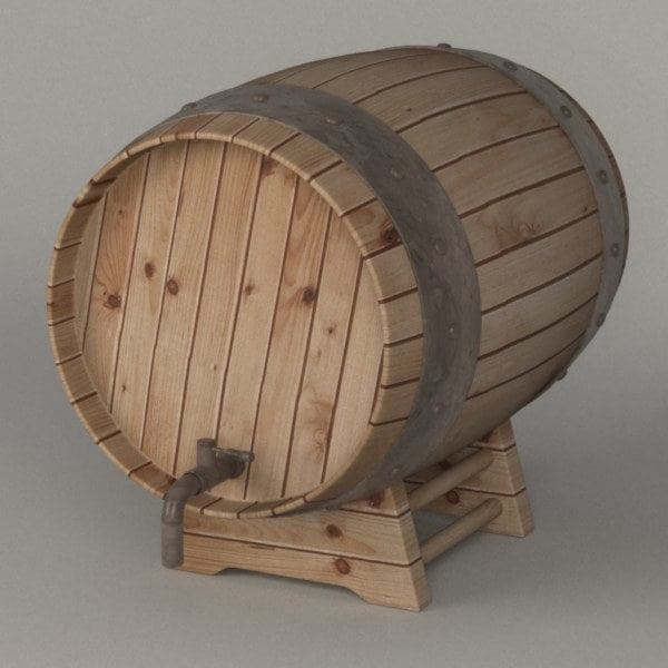 wooden barrel 3d 3ds