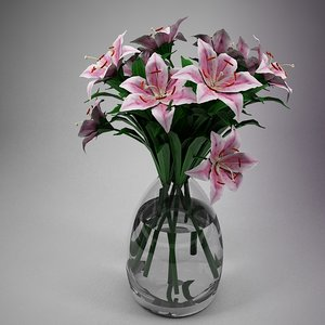 3dsmax pink lily flowers glass vase