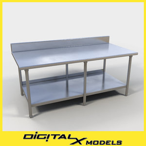 commercial food prep table 3d model