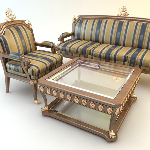 3dsmax table chair divan set for Victorian divan
