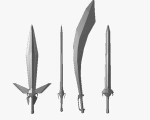 swords medievil fantasy obj free