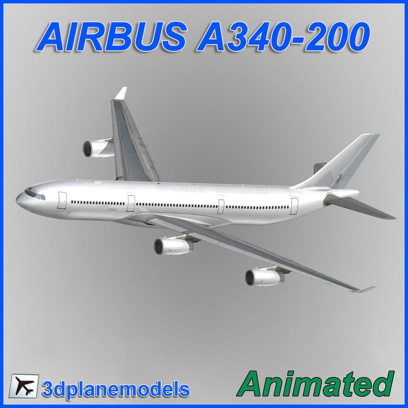3d airbus a340-200 model