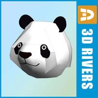 3ds low-poly panda head