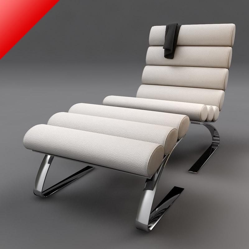 sinus lounge chair ottoman 3d model