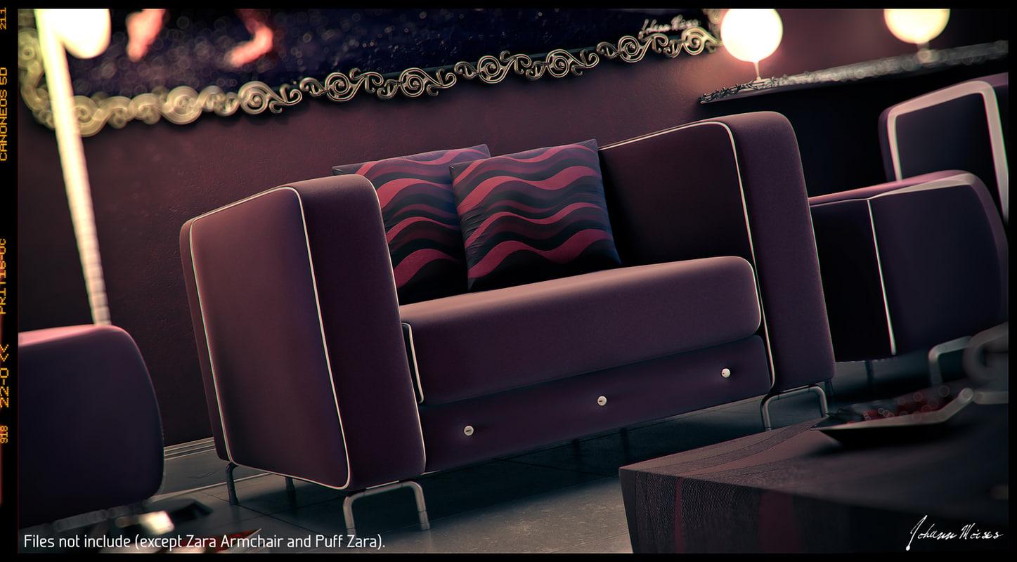 Zara Armchair,Puff U0026 Cushions.