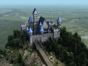 3ds max medieval castle scene