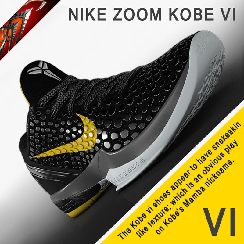 3d model shoes nike zoom kobe