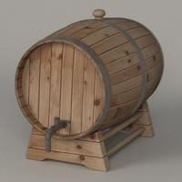 3d 3ds wooden barrel