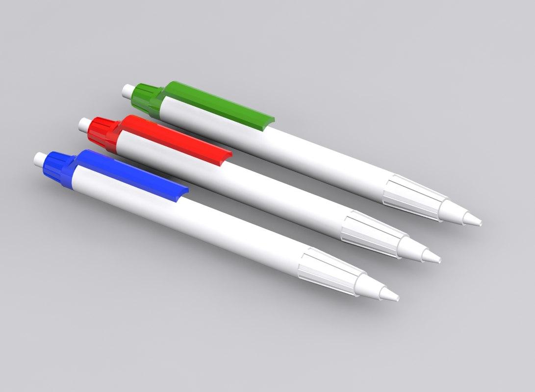 3d model blue white pen