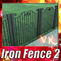 iron fence 02 resolution 3d model