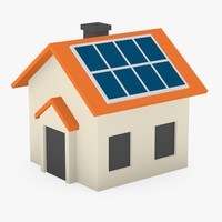 3d cartoon house solar panel