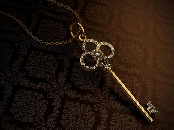 free tiffany key jewelry 3d model