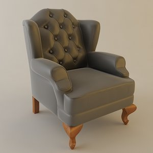 3d chair tufted wing model