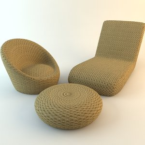 wicker chairs ottoman 3ds