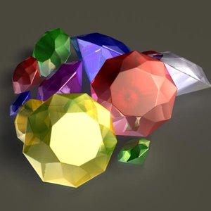3d gem ruby sapphire model