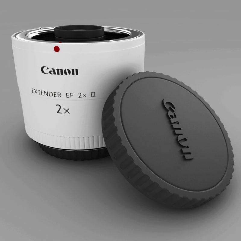 canon extender ef 2x 3d model