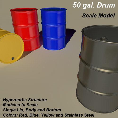 free 50 gallon drum 3d model
