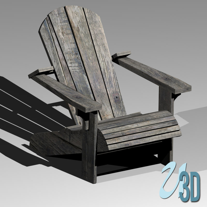 3d weathered adirondack chair model