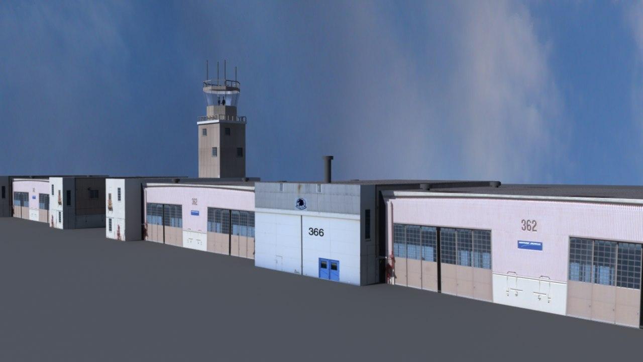 flight control tower hangers 3d model