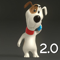 2 cartoon dog 3d model